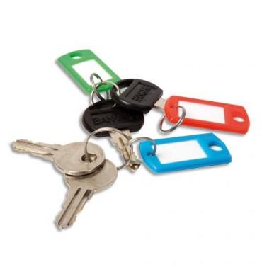 PAVO Boîte de 20 portes clés avec anneaux - Dimensions 5 x 2,2 cm coloris assortis
