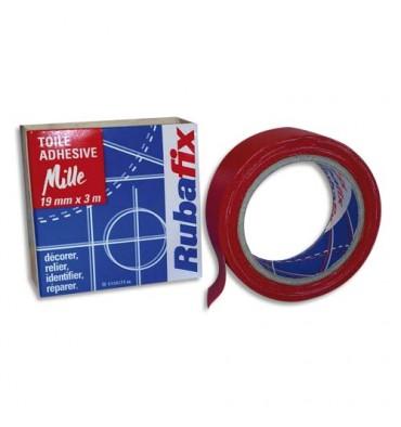 RUBAFIX Toile adhésive MILLE, plastifiée et imperméable, rouleau de 19 mm x 3 m rouge