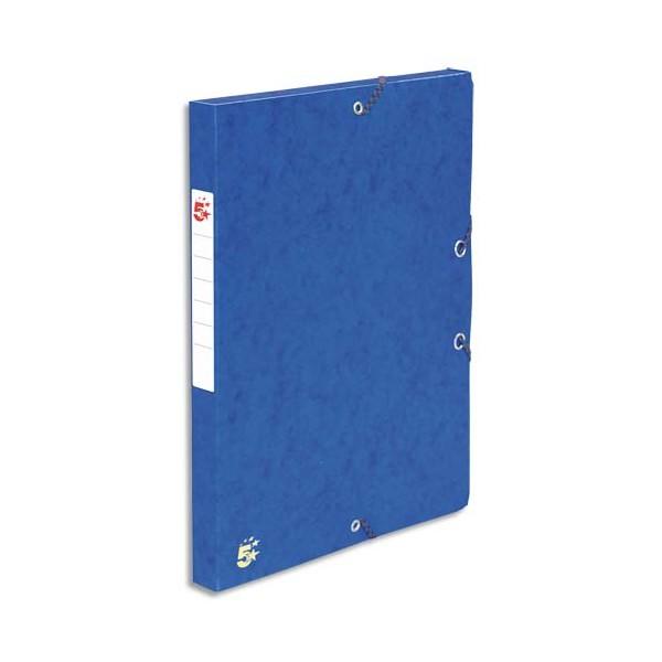 5 ETOILES Boîte de classement à élastique dos de 4 cm, en carte lustrée 490g, bleu (photo)