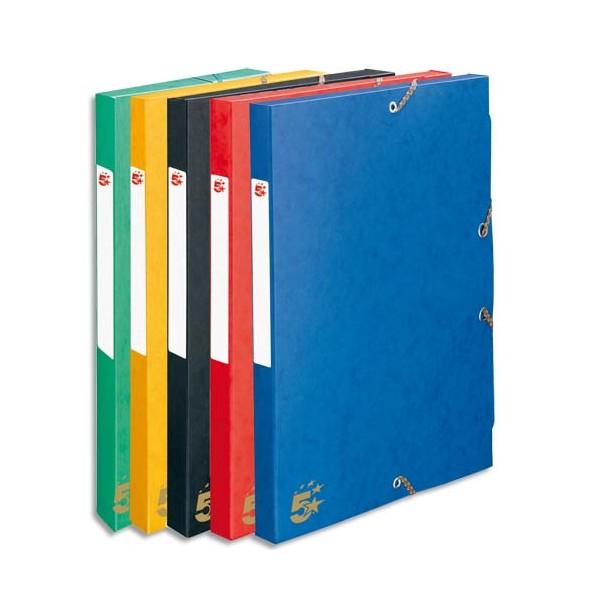 5 ETOILES 15 boîtes de classement en carte lustrée dos de 4 cm couleurs assorties (photo)