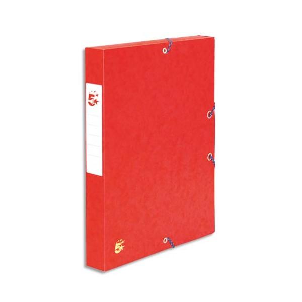 5 ETOILES Boîte de classement à élastique en carte dos de 4 cm, en carte lustrée rouge (photo)