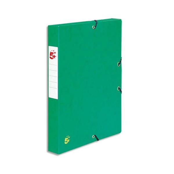 5 ETOILES Boîte de classement à élastique en carte dos de 4 cm, en carte lustrée vert (photo)
