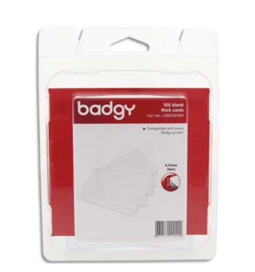 EVOLIS Badgy Lot de 100 cartes PVC épaisses (30 mil - 0,76 mm) CBGC0030W