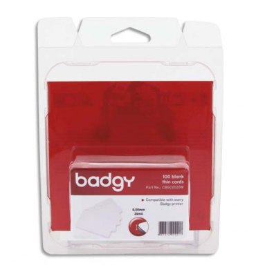 EVOLIS Badgy Lot de 100 de cartes PVC fines (20 mil - 0,50 mm) CBGC0020W