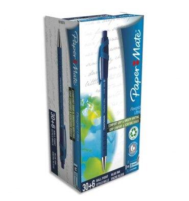 PAPERMATE Pack de 30+6 Stylo à bille pointe moyenne rétractable corps caoutchouc FLEXGRIP bleu