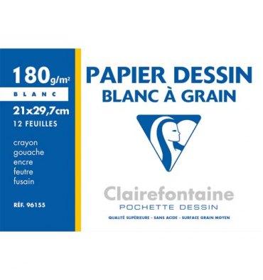 CLAIREFONTAINE Pochette de 12 feuilles papier dessin blanc A4 180g