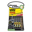 UHU Boîte antichoc de 3 mini-tubes 1g de colle Strong and Safe. Sans solvant