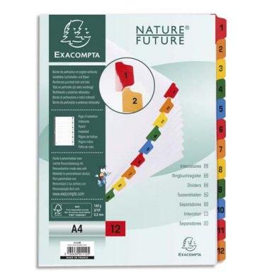 EXACOMPTA Jeu d'intercalaires numérique 12 positions en carte blanche 170g, onglets Mylar®. Format A4.
