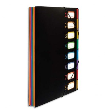 VIQUEL Trieur RAINBOW 8 compartiments à soufflet en polypro 5/10, extérieur noir intérieur multicolore