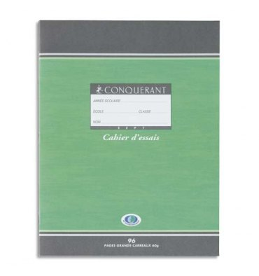 CONQUERANT SEPT BY HAMELIN Cahier d'essais 17 x 22 cm 96 pages grands carreaux papier 60g NF 34