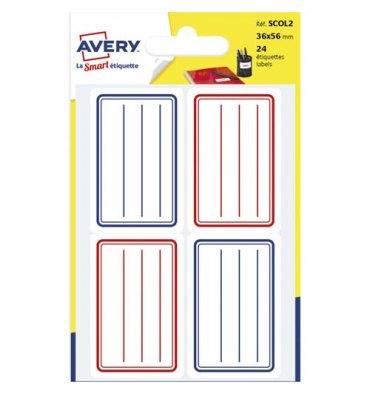 AVERY Sachet de 24 étiquettes scolaires lignées bleu et rouge 36 x 56 mm.