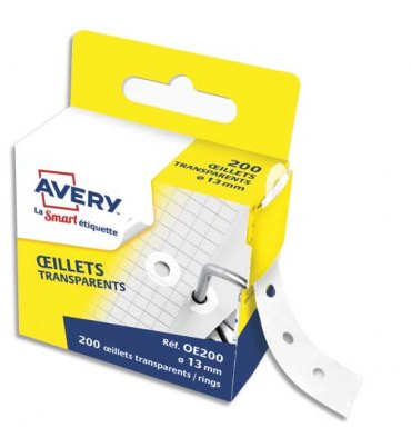 AVERY Boîte distributrice de 200 œillets transparents Ø14,5 mm