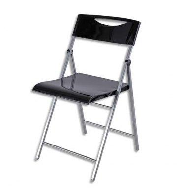 ALBA Chaise d'accueil pliante Smile en acier et revêtement en polypropylène noire, 4 pieds