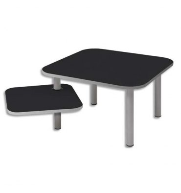 ALBA Table carrée + tablette rotative ZOE1 noire - Dimensions : L60 x H37 x P60 cm