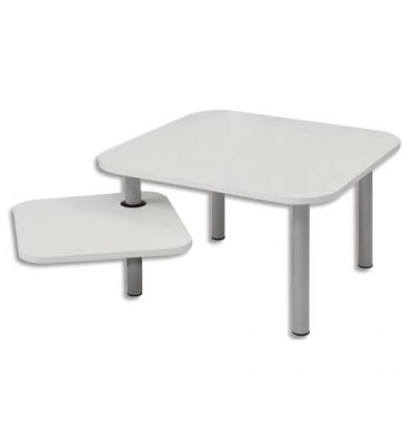 ALBA Table carrée + tablette rotative ZOE1 blanche - Dimensions : L60 x H37 x P60 cm