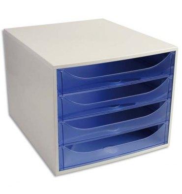 EXACOMPTA Module de classement ECO 4 tiroirs gris bleu translucide - Dim. : L28,4 x H23,4 x P34,8 cm