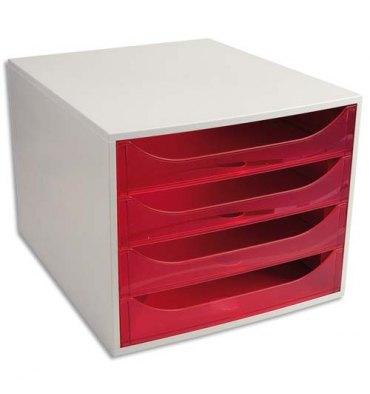 EXACOMPTA Module de classement ECO 4 tiroirs gris rose translucide - Dim. : L28,4 x H23,4 x P34,8 cm