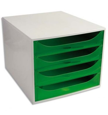 EXACOMPTA Module de classement ECO 4 tiroirs gris vert translucide - Dim. : L28,4 x H23,4 x P34,8 cm