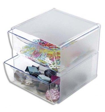 DEFLECTO Système modulable Cube 2 tiroirs en polystyrène - 15,2 x 15,2 x 18,2 cm transparent