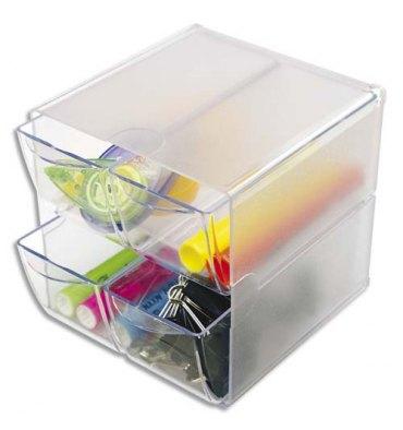 DEFLECTO Système modulable Cube 4 tiroirs en polystyrène - 15,2 x 15,2 x 18,2 cm transparent