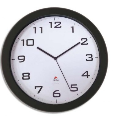 ALBA Horloge murale Horissimo silencieuse grand format à pile 1AA non fournie - D38 cm, P5,11 cm noir