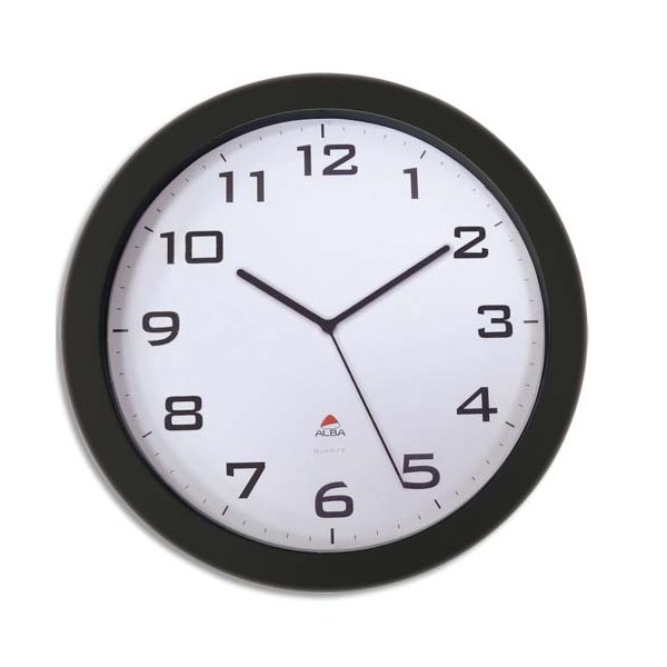 ALBA Horloge murale Horissimo silencieuse grand format à pile 1AA non fournie - D38 cm, P5,11 cm noir (photo)
