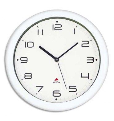 ALBA Horloge murale Hornew sielncieuse mouvement quartz à pile 1AA non fournie - D30 cm, P4,08 cm blanc