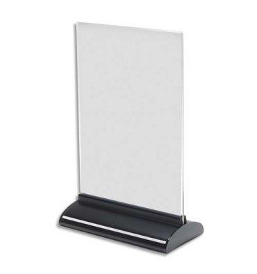 DEFLECTO Porte-visuel base extrudée A5 vertical - Dimensions : L15,7 x H24,3 x P7,6 cm transparent
