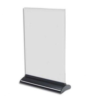DEFLECTO Porte-visuel base extrudée A4 vertical - Dimensions : L21,9 x H33,1 x P7,8 cm transparent