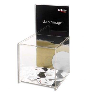 DEFLECTO Urne avec porte affiche, Urne 37,5 x 20,3 cm, Fente 10,04 x 0,9 cm
