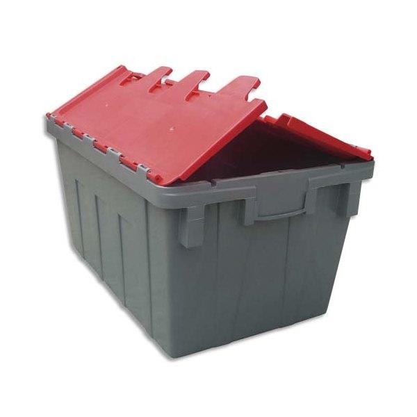 Viso bac de rangement navette 50 litres 40 x 31 2 x 60 cm gris rouge - Boite rangement industriel ...