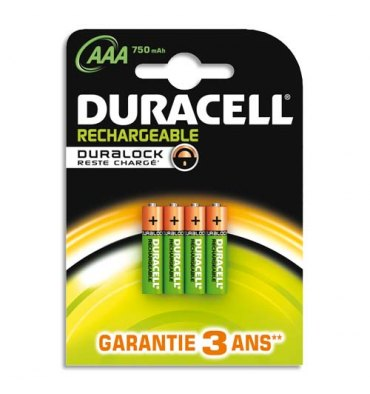 DURACELL Blister de 4 accus rechargeables 1,2V AAA HR3 750 mAh