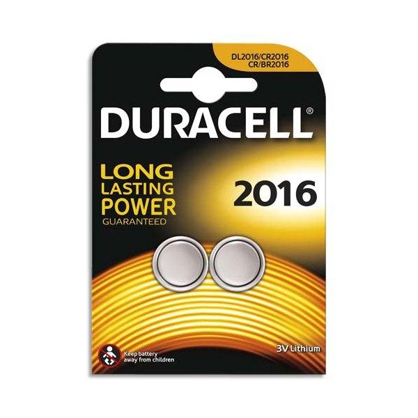 DURACELL Blister de 2 piles 2016 Lithium Duralock pour appareils électroniques (photo)