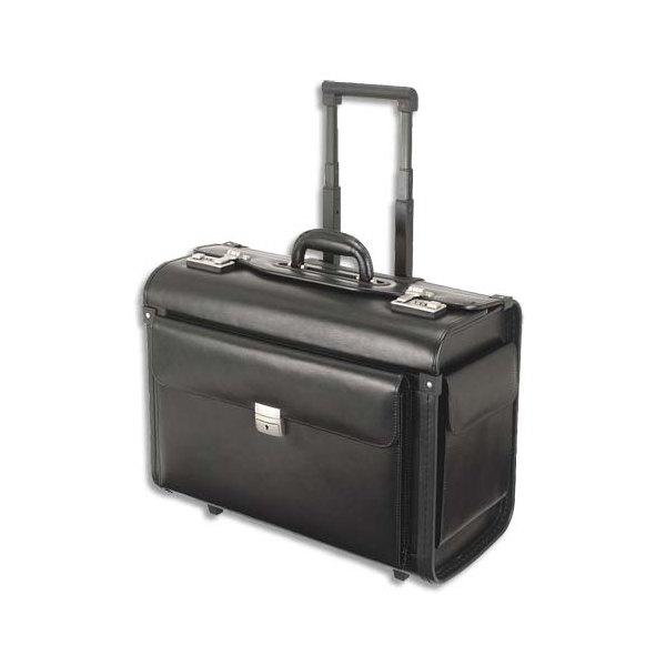 ALASSIO Pilot case classique noir en cuir - Dimensions : L48,5 x H38,5 x P23,5 cm (photo)