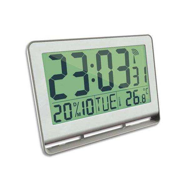 ALBA Horloge murale LCD multifonction radio-pilotée livrée 2 piles AAA fournies en ABS L20 x H15 cm blanc (photo)