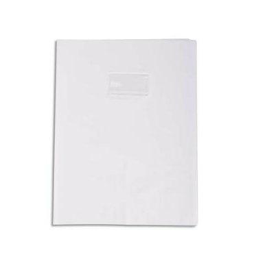 CALLIGRAPHE Protège-cahier PVC opaque (grain cuir) 20/100ème avec porte-étiquette 24 x 32 cm blanc
