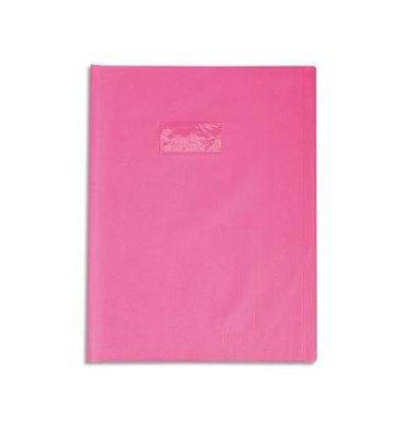 CALLIGRAPHE Protège-cahier PVC opaque (grain cuir) 20/100ème avec porte-étiquette 17 x 22 cm rose