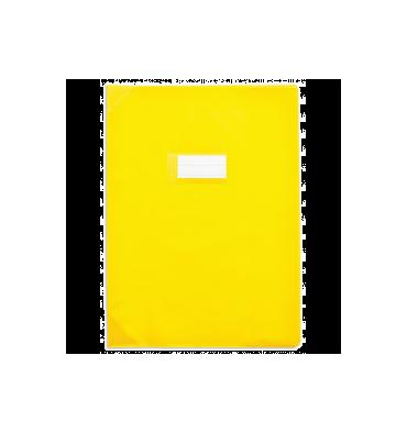 ELBA Protège-cahier School Life 17 x 22 cm PVC opaque 15/100e, coins + porte-étiquette, coloris jaune