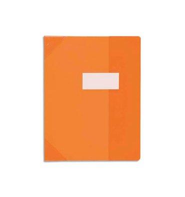ELBA Protège-cahier School Life 17 x 22 cm PVC opaque 15/100e, coins + porte-étiquette, coloris orange
