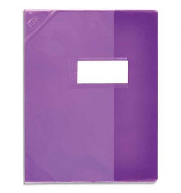 ELBA Protège-cahier School Life 17 x 22 cm PVC opaque 15/100e, coins + porte-étiquette, coloris violet