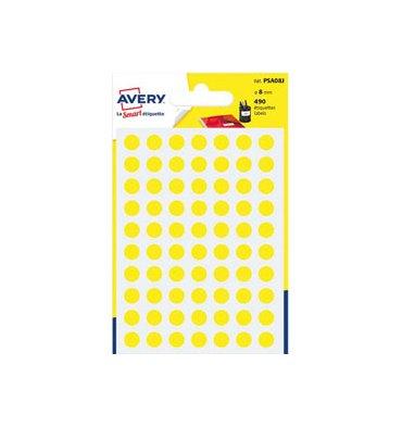 AVERY Sachet de 490 pastilles diamètre 8 mm. Ecriture manuelle. Coloris jaune