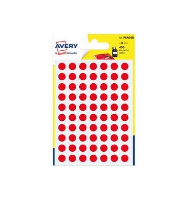 AVERY Sachet de 490 pastilles diamètre 8 mm. Ecriture manuelle. Coloris rouge