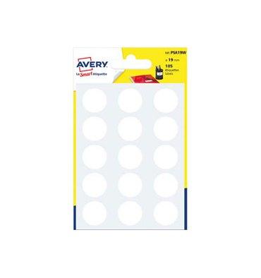 AVERY Sachet de 105 pastilles diamètre 19 mm. Ecriture manuelle. Coloris blanc