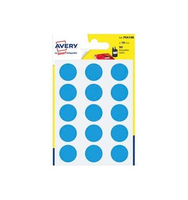 AVERY Sachet de 90 pastilles diamètre 19 mm. Ecriture manuelle. Coloris bleu