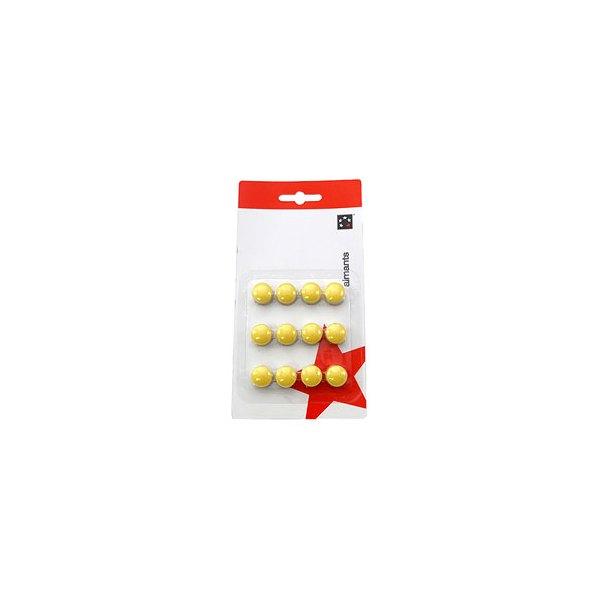 5 ETOILES Boite de 12 aimants 12 mm ronds jaune (photo)