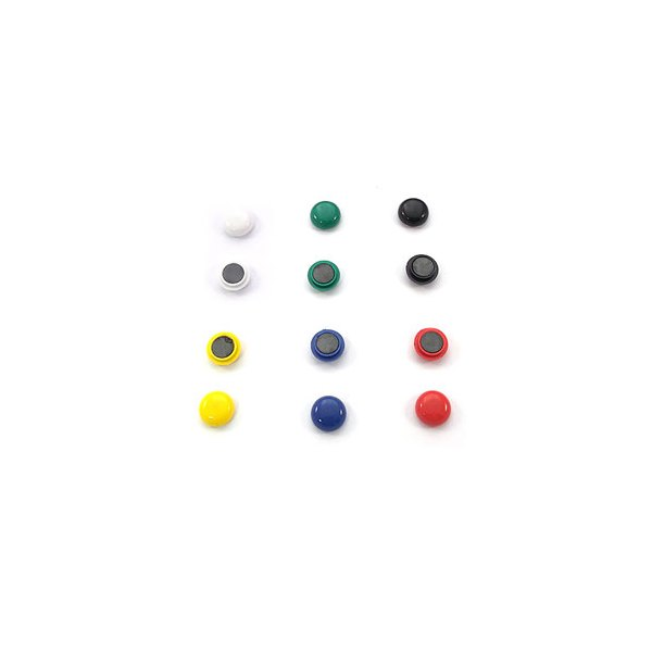 5 ETOILES Boîte de 12 aimants 12 mm ronds assortis (photo)
