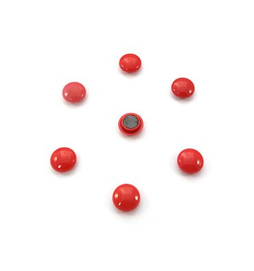 5 ETOILES Boîte de 7 aimants 22 mm ronds rouge