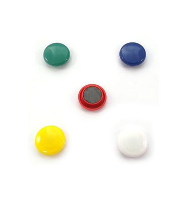 5 ETOILES Boîte de 5 aimants 27 mm ronds assortis