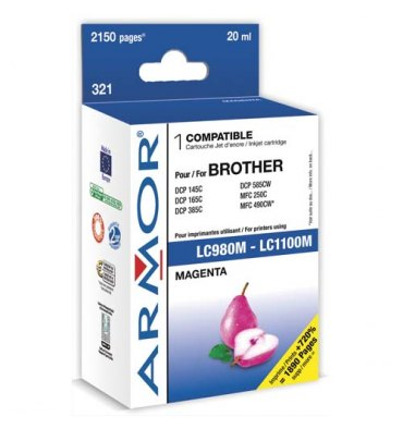 ARM Cartouche compatible jet d'encre magenta BROTHER LC980/1100M