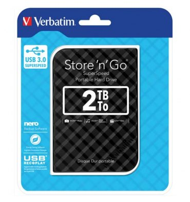 "VERBATIM Disque dur 2,5"" USB 3.0 Store'N'Go Style 2To Noir 53195 + redevance"